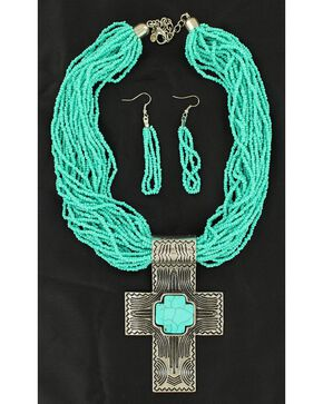 Blazin Roxx Cross Pendant Beaded Necklace & Earrings Set, Turquoise, hi-res