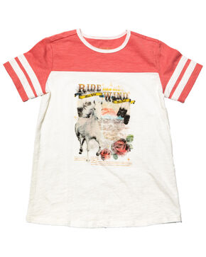 Shyanne Girls' Horse Graphic Raglan Tee, Ivory, hi-res