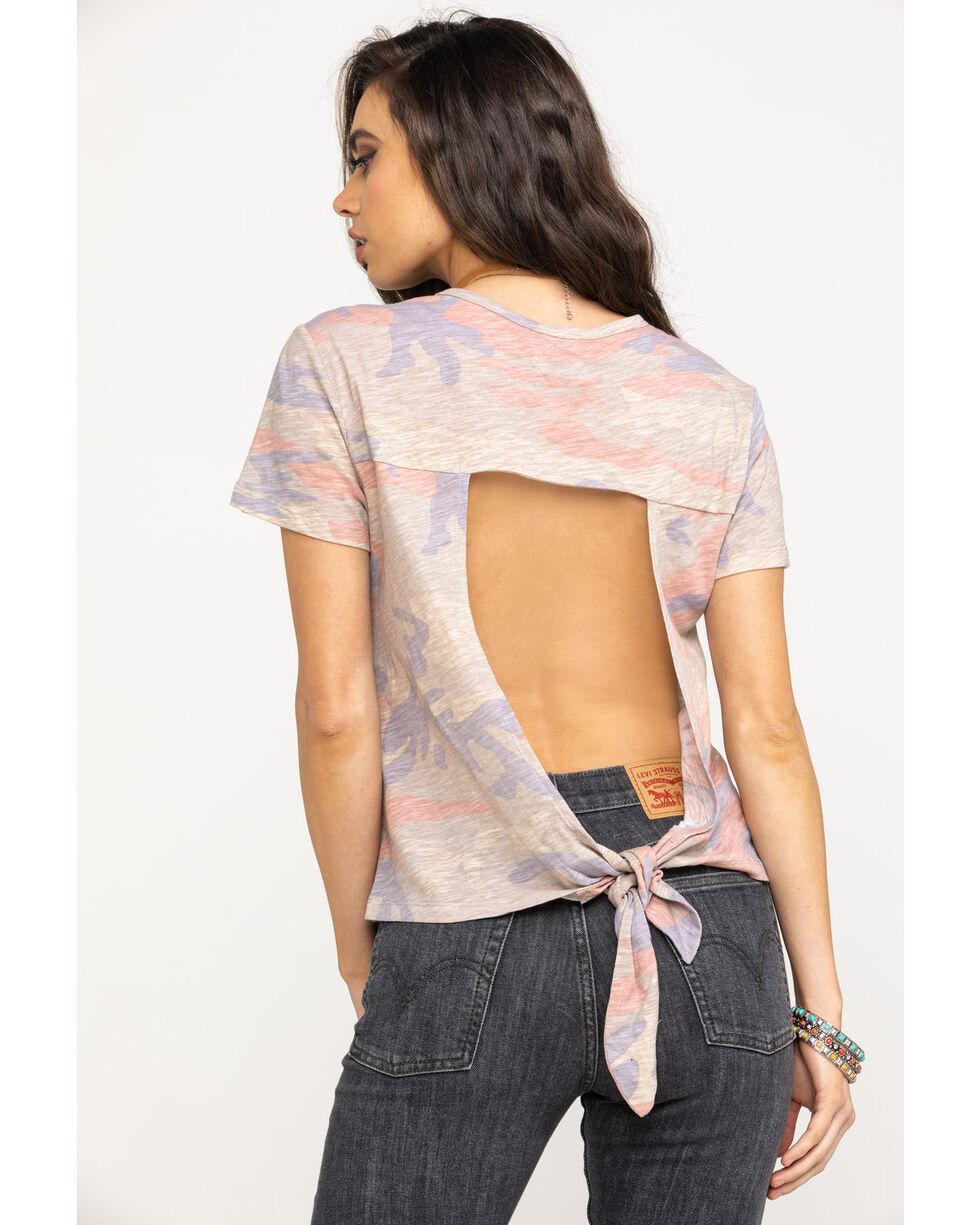 Miss Me Women's Pink Camo Open Back Tie Hem Tee, Pink, hi-res