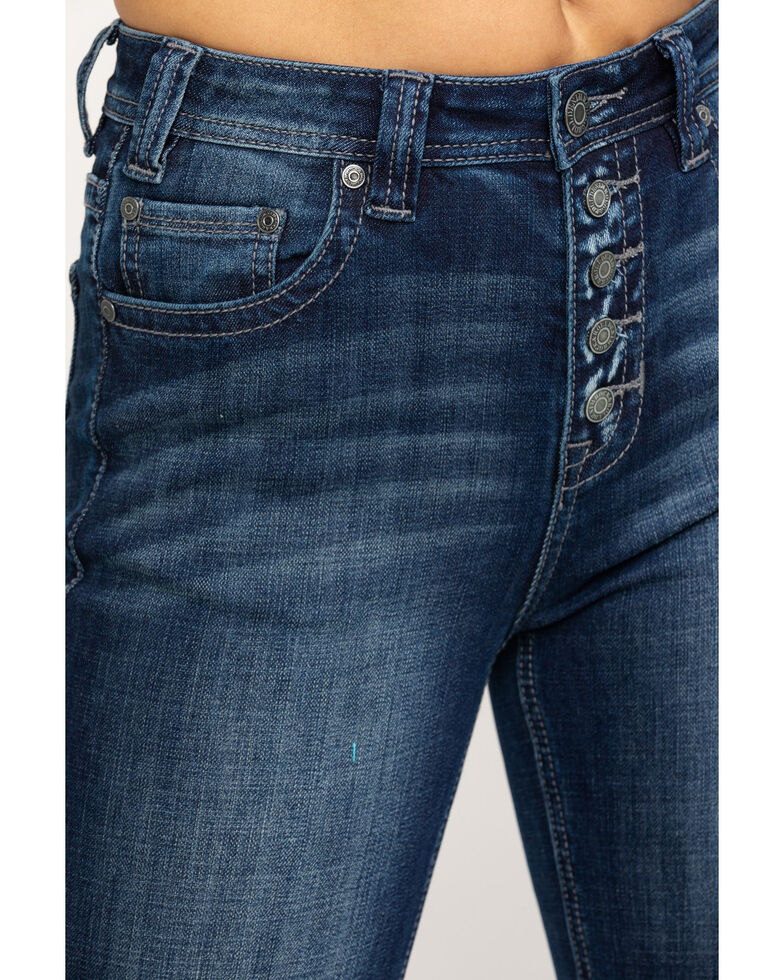 Rock & Roll Cowgirl Women's High Rise Button Front Trousers, Blue, hi-res