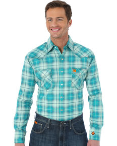 Wrangler Men's Green FR Fashion Plaid Long Sleeve Work Shirt , Green, hi-res