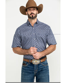 Tuf Cooper Men's Navy Stretch Geo Print Short Sleeve Western Shirt , Navy, hi-res