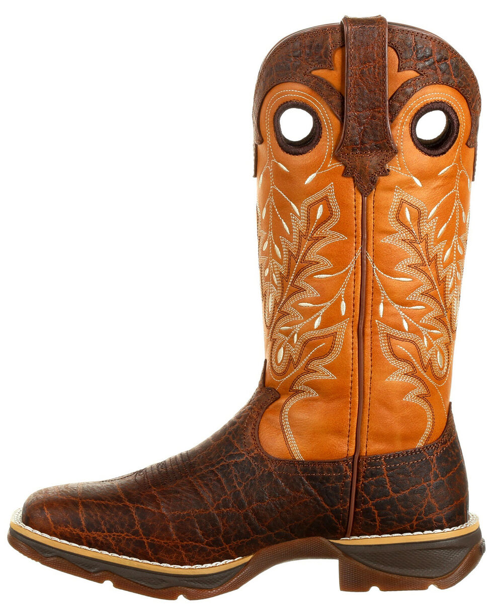 Durango Women's Lady Rebel Faux Exotic Western Boots - Square Toe, Gold, hi-res