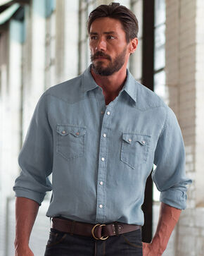 Ryan Michael Sawtooth Linen Shirt , Grey, hi-res