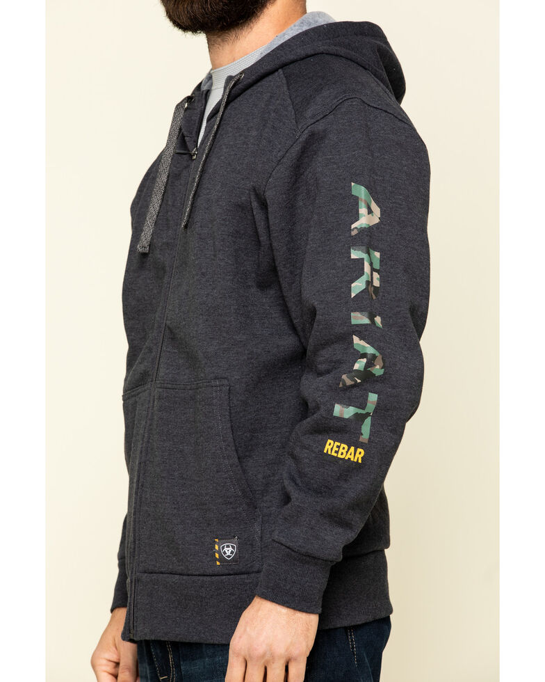 Ariat Men's Charcoal Rebar Camo Flag Graphic Hooded Zip Front Work Jacket , Charcoal, hi-res
