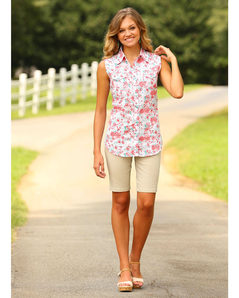 Wrangler Women's Coral Floral Print Sleeveless Top , Coral, hi-res