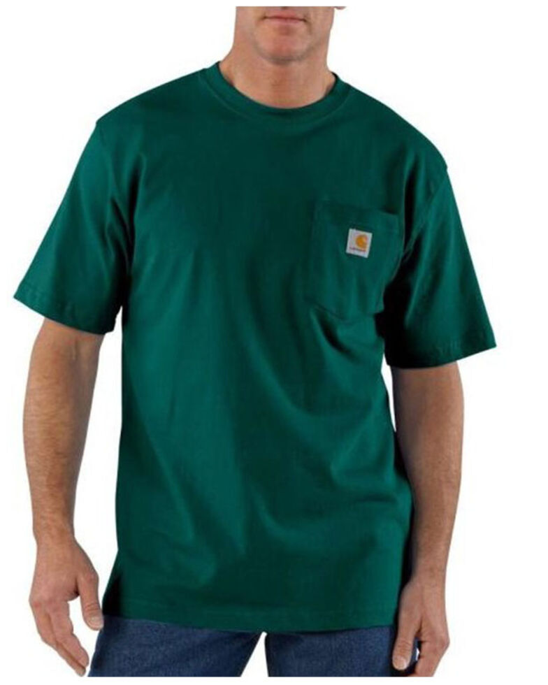 Carhartt Men's Dark Green Loose Fit Pocket Short Sleeve Work T-Shirt - Big , Dark Green, hi-res