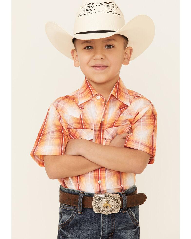 Ely Walker Boys' Orange Plaid Short Sleeve Snap Western Shirt , Orange, hi-res