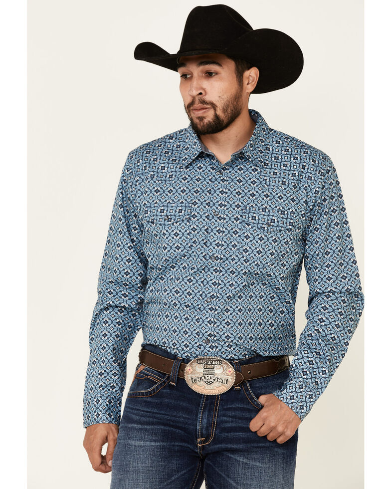 Cody James Men's Lookin Out Geo Print Long Sleeve Western Shirt , Blue, hi-res