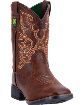 John Deere Boys' Pull-On Rubber Outsole Boots - Square Toe , Russett, hi-res