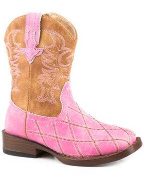 Roper Girls' Cross Cut Western Boots - Round Toe, Pink, hi-res