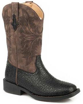Roper Girls' Chomp Western Boots - Square Toe, Black, hi-res