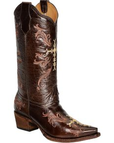 Circle G Women's Cognac Cross Embroidered Western Boots, Chocolate, hi-res