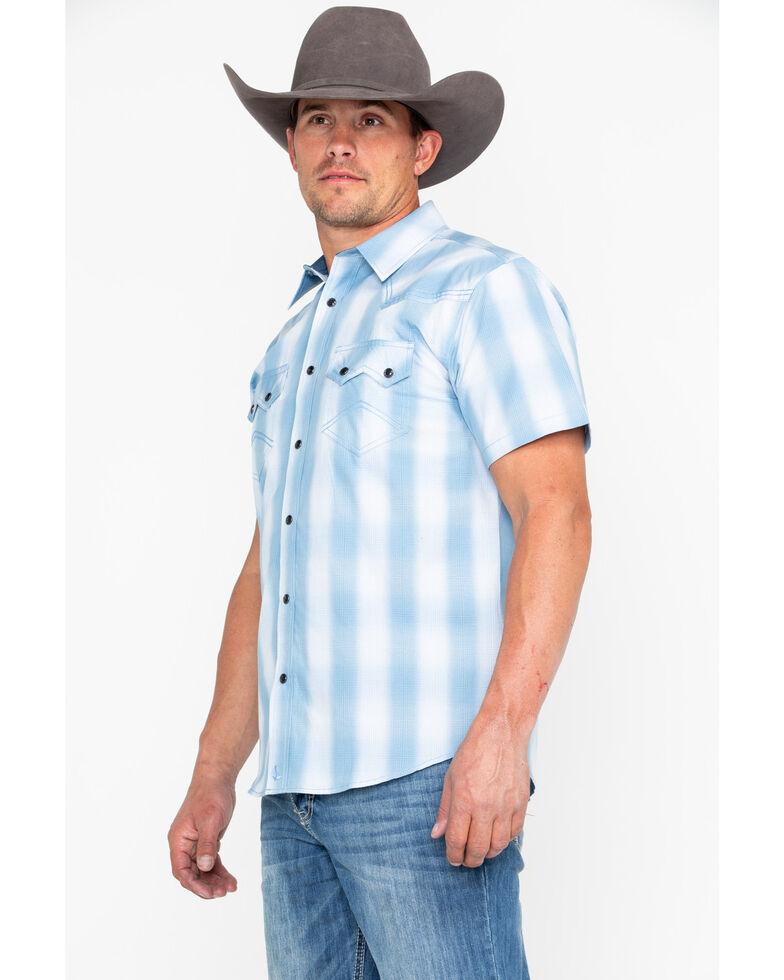 Cody James Men's Still Waters Ombre Plaid Short Sleeve Western Shirt , Light Blue, hi-res