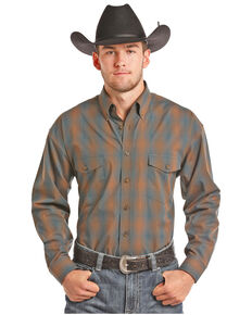 Panhandle Men's Brown Button Down Plaid Shirt, Brown, hi-res
