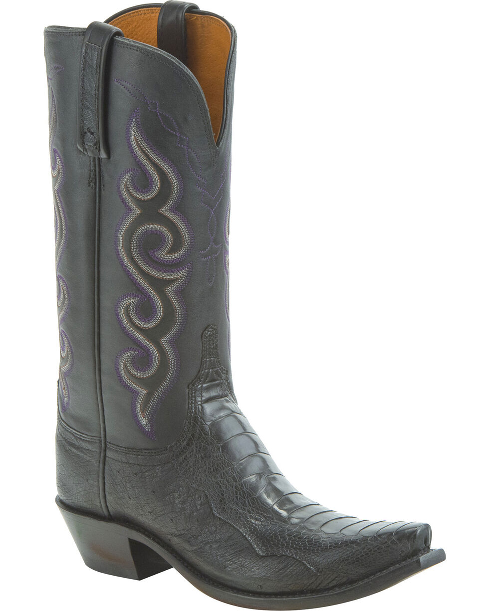 Lucchese Women's Handmade Yvette Ostrich Leg Western Boots - Snip Toe, Black, hi-res