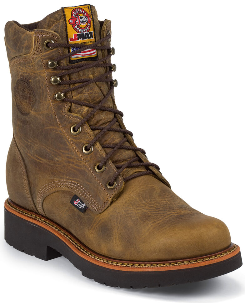 "Justin Men's Rugged 8"" Steel Toe Lace-Up Work Boots, Tan, hi-res"