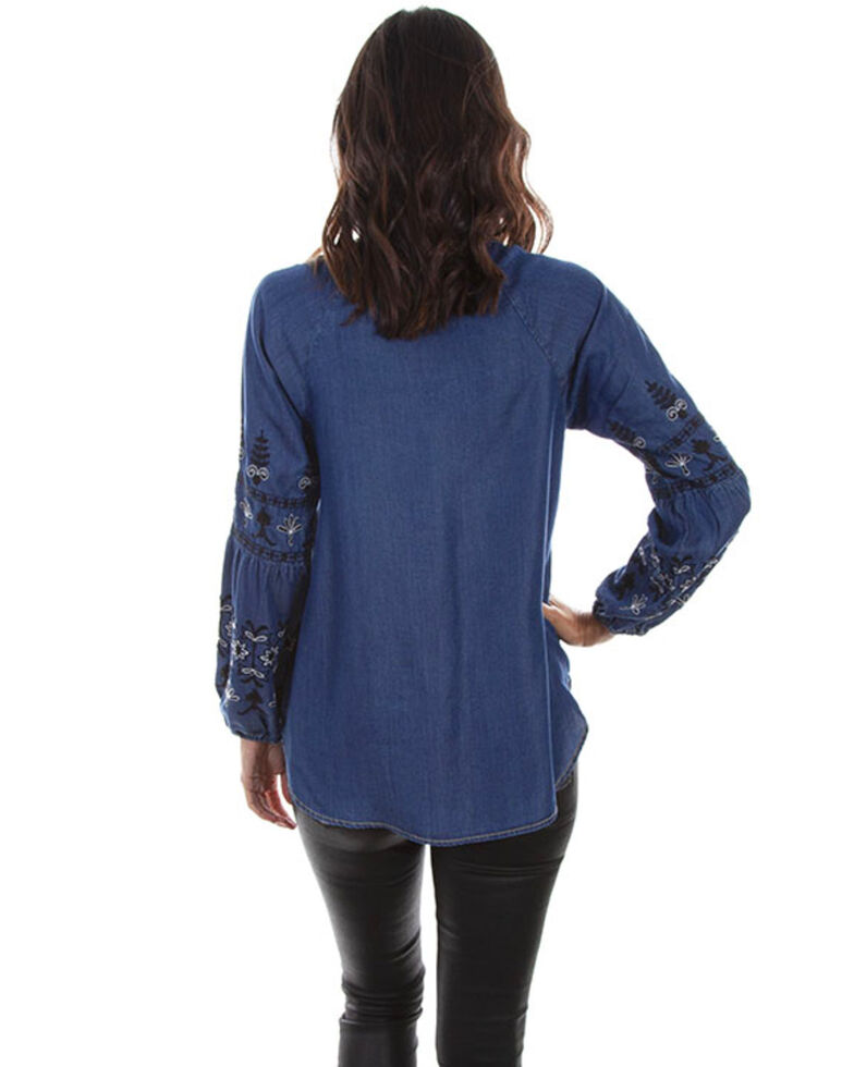Honey Creek by Scully Women's Dark Blue Embroidered Top, Blue, hi-res