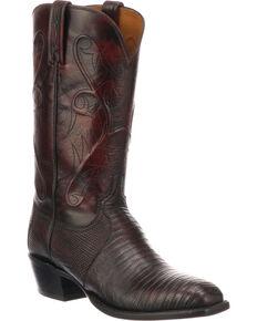 Lucchese Men's Handmade Benton Black Cherry Lizard Cowboy Boots - Medium Toe , Black Cherry, hi-res