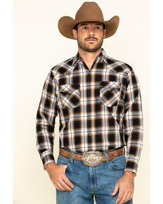 Ely Cattleman Men's Khaki Plaid Long Sleeve Western Shirt , Beige/khaki, hi-res