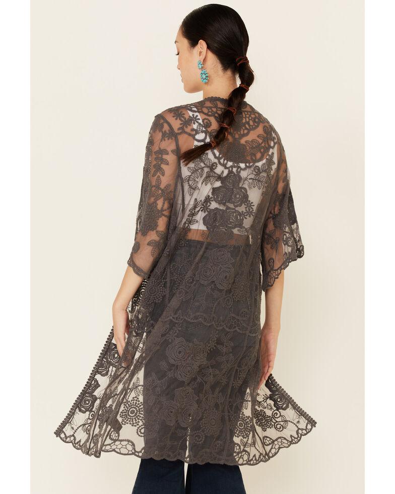 Shyanne Women's Lace Duster Kimono, Charcoal, hi-res