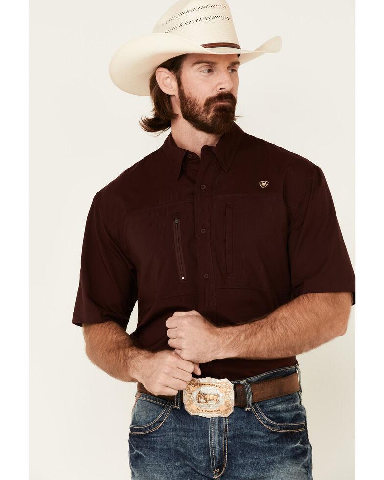 Ariat Men's Solid Maroon Vent Tek Short Sleeve Button-Down Western Shirt , Burgundy, hi-res