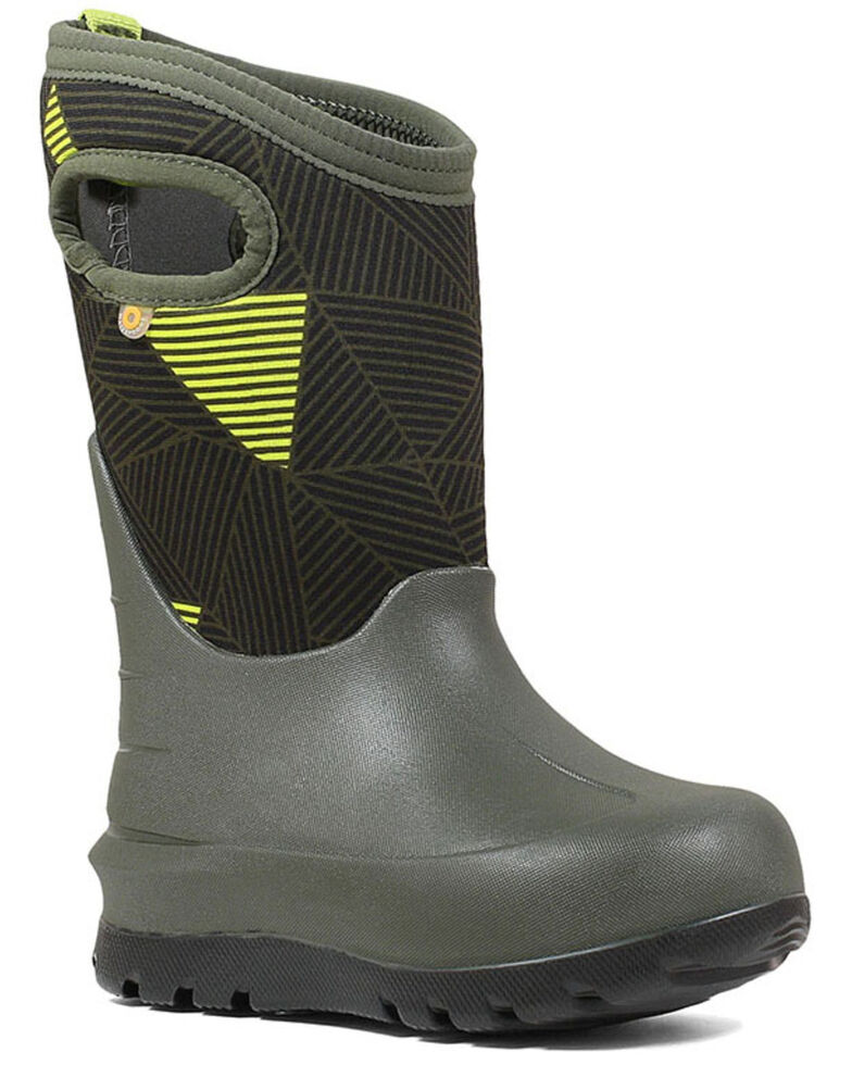Bogs Boys' Green Neo-Classic Outdoor Boots - Round Toe, Green, hi-res