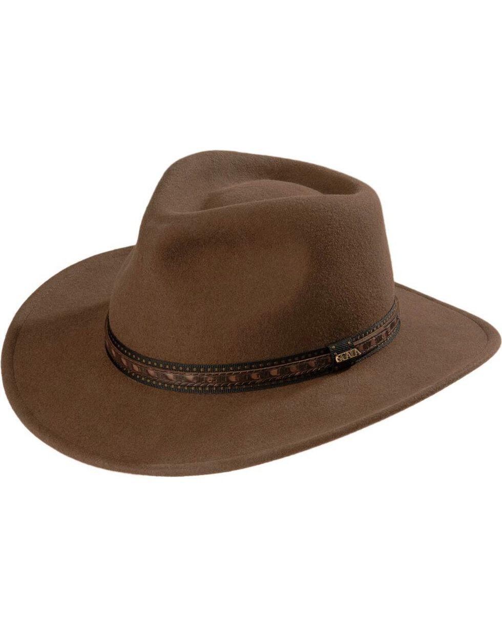 Scala Crushable Wool Outback Hat, Khaki, hi-res