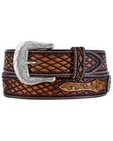 Leegin Men's Decatur Diamond Western Belt, Tan, hi-res