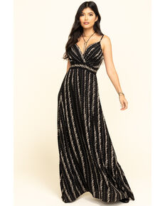 Angie Women's Black Floral Stripe Maxi Dress , Black, hi-res