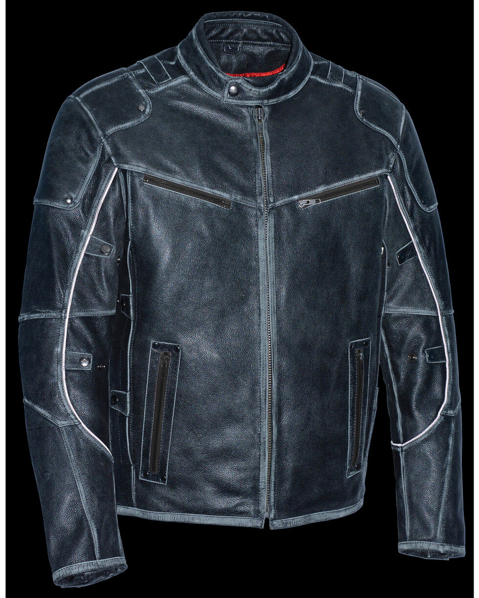 Milwaukee Leather Men's Vintage Distressed Triple Vented Jacket - 5X, Grey, hi-res