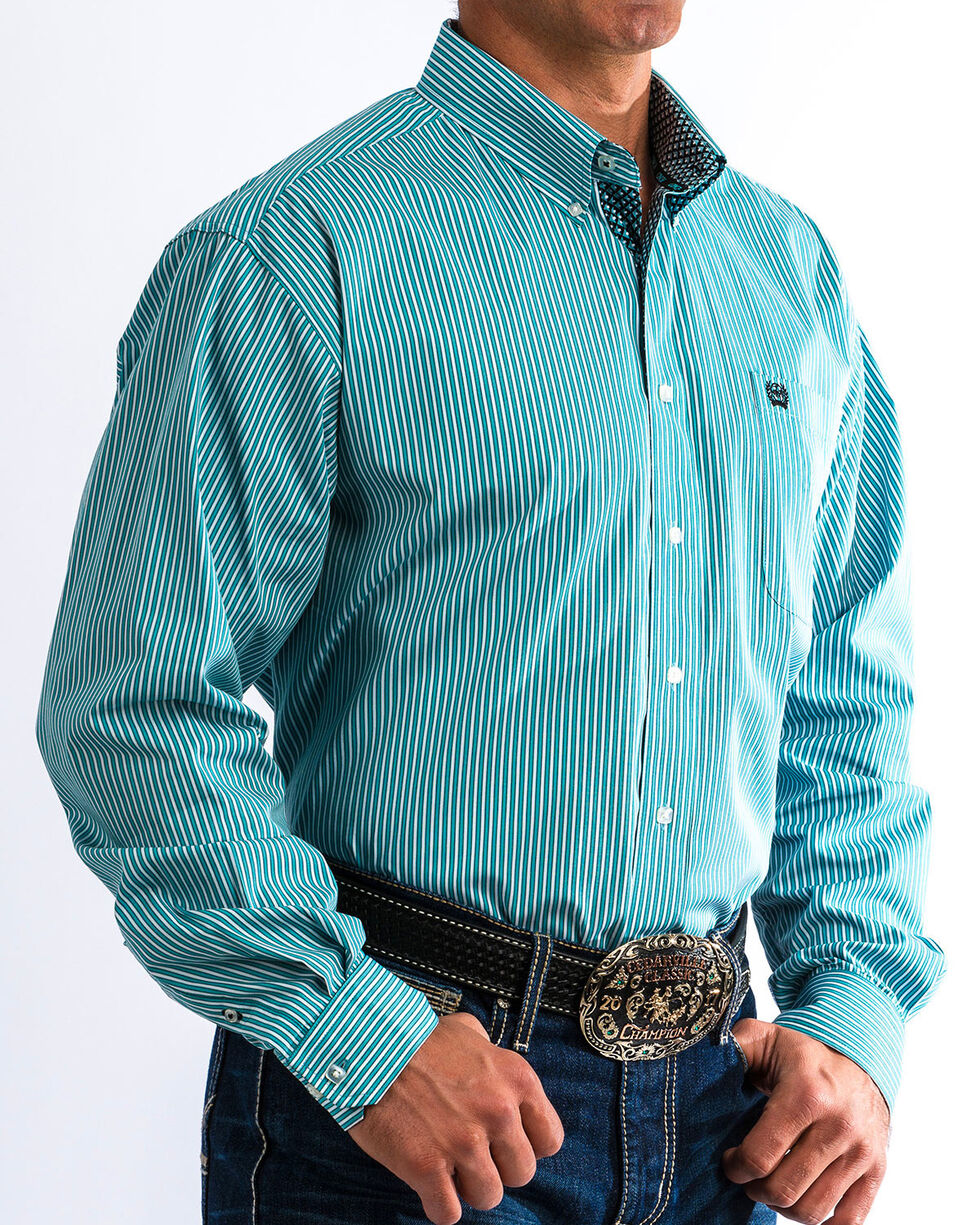 Cinch Men's Turquoise & White Striped Western Shirt , Blue, hi-res