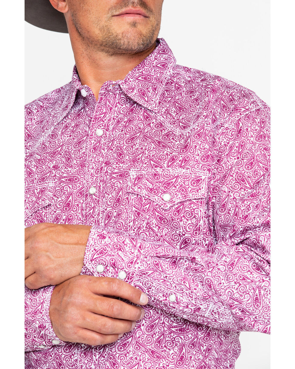 Wrangler 20X Mens' Purple Print Paisley Advanced Comfort Long Sleeve Shirt , Purple, hi-res
