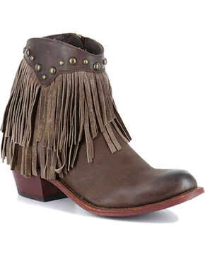 Shyanne® Women's Oleo Fringe Trimmed Booties, Brown, hi-res