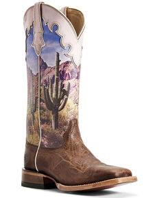 Ariat Women's Fonda Tobacco Scene Western Boots - Wide Square Toe, Brown, hi-res