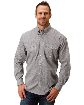 Roper Men's Marble Geo Print Long Sleeve Western Shirt , Grey, hi-res