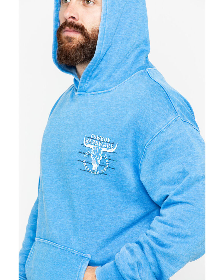 Cowboy Hardware Men's American Original Graphic Acid Wash Hooded Sweatshirt , Blue, hi-res