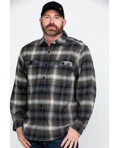 Wolverine Men's Grey Grayson Plaid Stretch Flannel Work Shirt , Grey, hi-res
