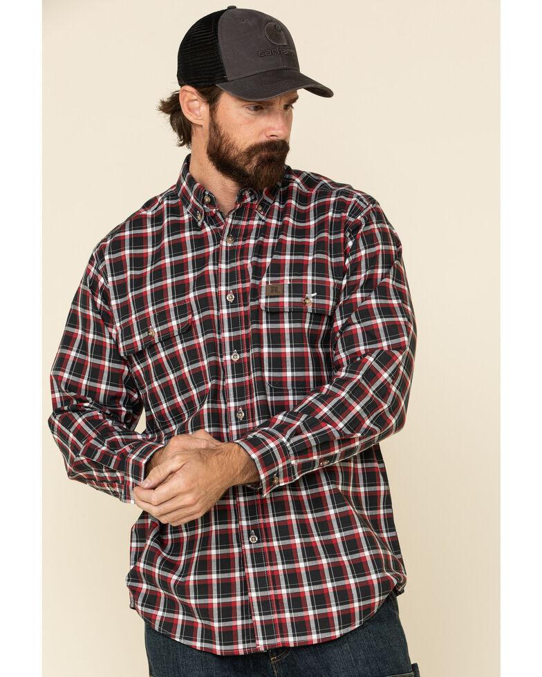 Wrangler Riggs Men's Blue Plaid Foreman Long Sleeve Work Shirt - Big , Blue/red, hi-res
