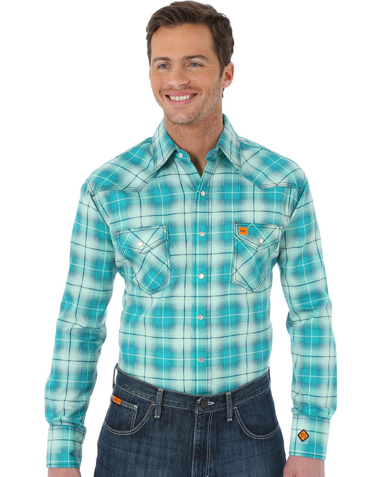 Wrangler Men's Green Plaid Flame Resistant Long Sleeve Work Shirt - Big & Tall, Green, hi-res