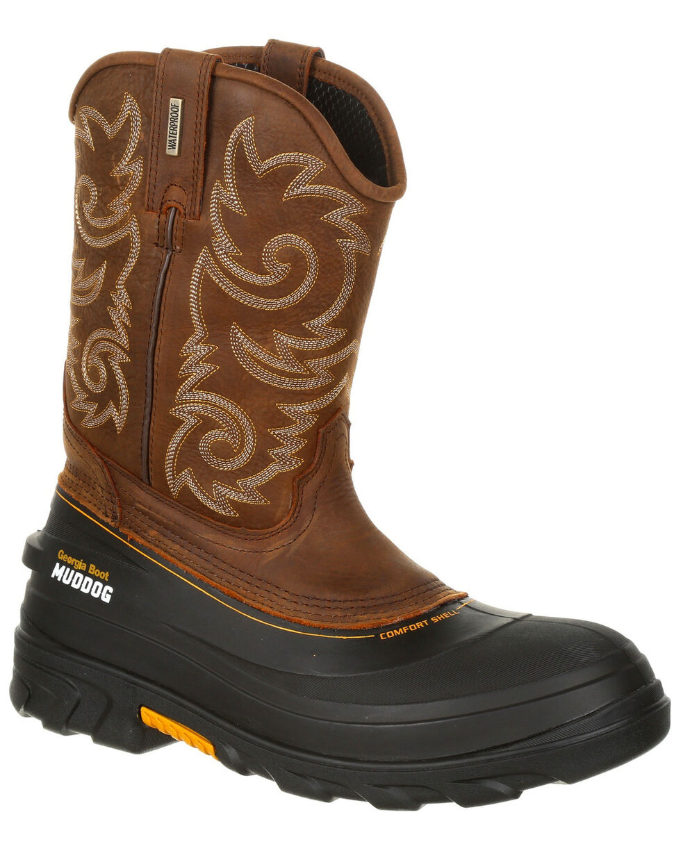 Georgia Boot Men's Muddog Waterproof Western Work Boots - Round Toe, Brown, hi-res