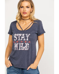 White Label by Panhandle Women's Burnout Stay Wild Strap Front Graphic Tee, Blue, hi-res