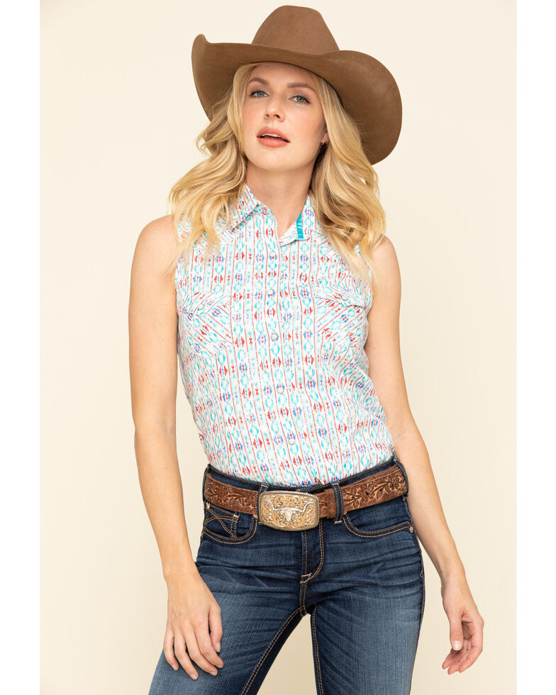 Rough Stock by Panhandle Women's Ossipee Aztec Sleeveless Western Shirt, Blue, hi-res