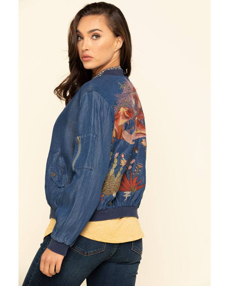Johnny Was Women's Blue Denim Yucca Bomber Jacket, Blue, hi-res