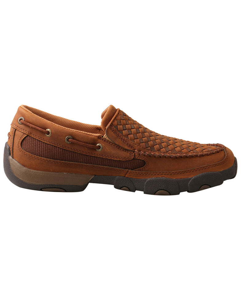 Twisted X Men's Basket Weave Slip-On Shoes - Moc Toe, Brown, hi-res