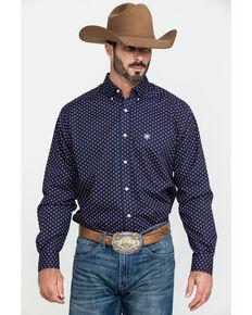 Ariat Men's Wrinkle Free Indham Small Geo Print Long Sleeve Western Shirt , Navy, hi-res