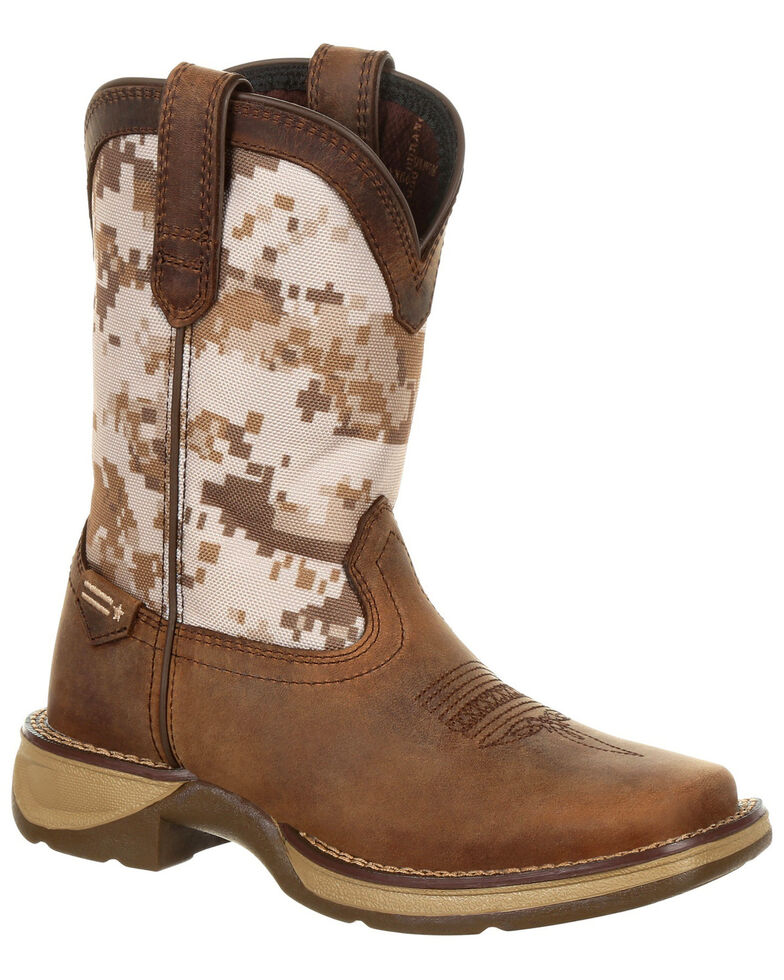 Durango Youth Boys' Rebel Desert Camo Western Boots - Square Toe, Brown, hi-res