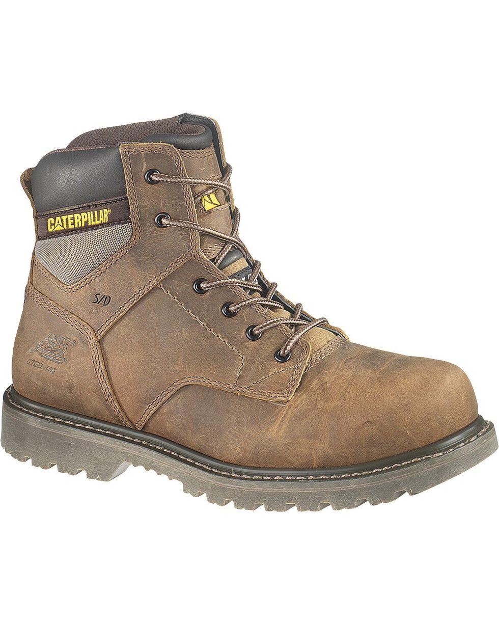 CAT Men's Steel Toe Gunnison Work Boots, Dark Brown, hi-res