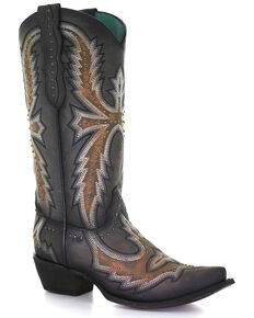 Corral Women's Hand Painted With Embroidery Western Boots - Snip Toe, Grey, hi-res