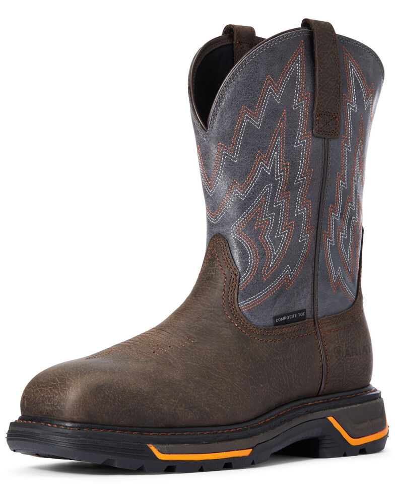 Ariat Men's Iron Big Rig Western Work Boots - Composite Toe, Brown, hi-res
